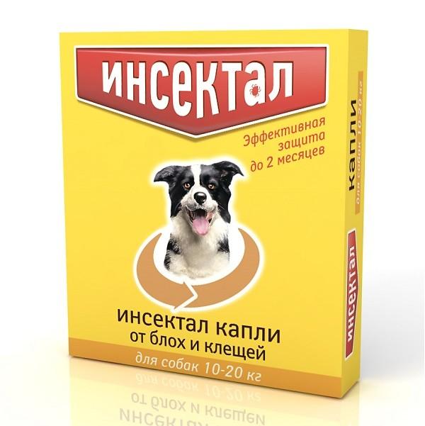 Капли от блох Инсектал для собак весом от 10 до 20 кг