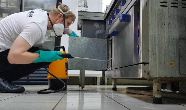 Обработка жарочных шкафов от тараканов на коммерческой кухне